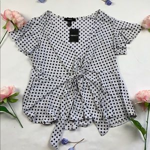 NWT Forever 21 polka dot tie front top